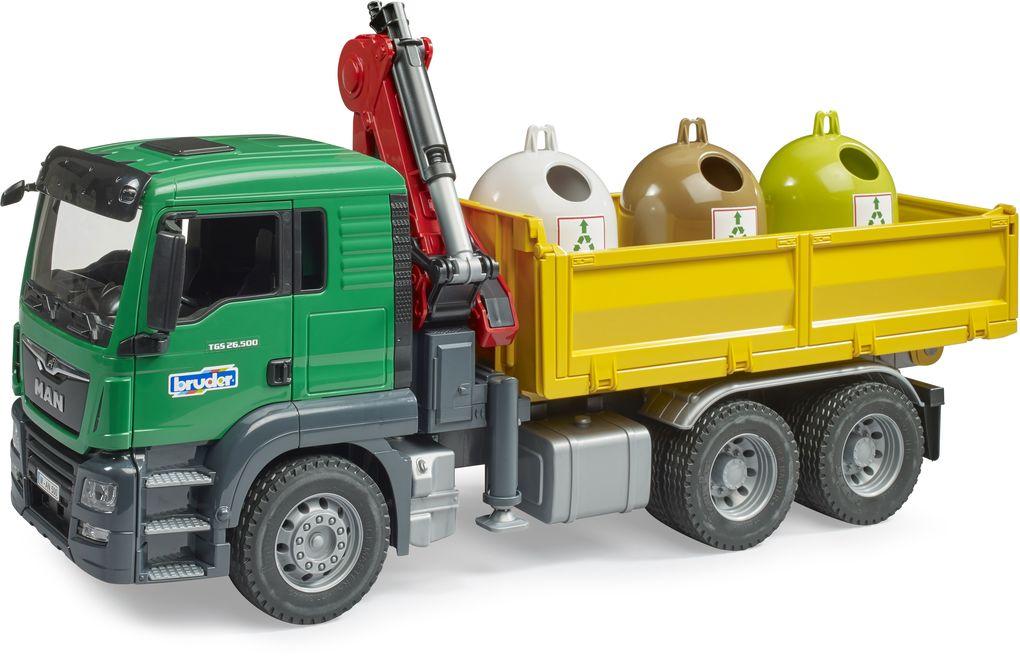 BRUDER - bworld - MAN TGS Kran LKW mit 3 Altglascontainern und Flaschen als sonstige Artikel