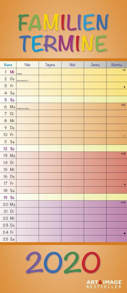Regenbogen Familientermine 2020 als Kalender