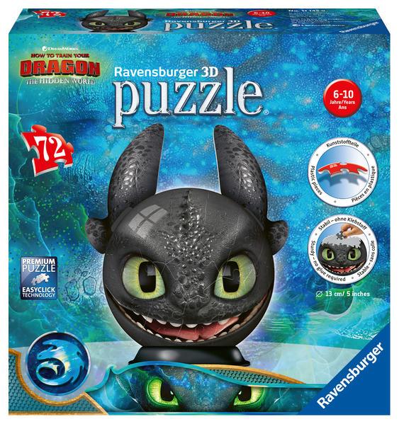 Dragons 3 Ohnezahn Mit Ohren 3d Puzzle Ball 72 Teile