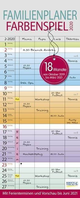 Familienplaner Farbenspiel 2020 als Kalender