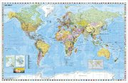 Weltkarte deutschsprachig. Wandkarte mit Flaggenrand