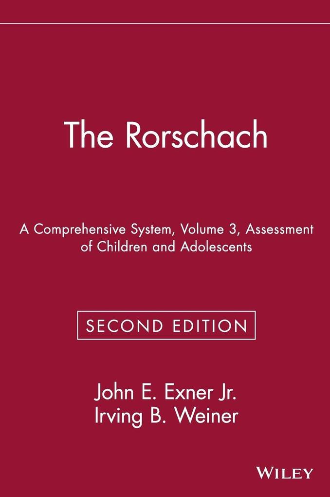 The Rorschach, Assessment of Children and Adole...