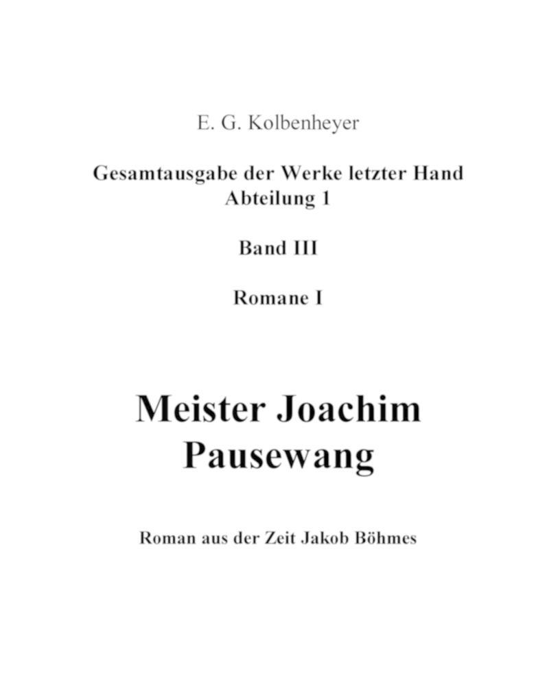 Meister Joachim Pausewang als eBook