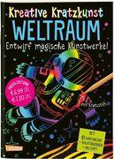 Kreative Kratzkunst: Weltraum: Set mit 10 Kratzbildern, Anleitungsbuch und Holzstift