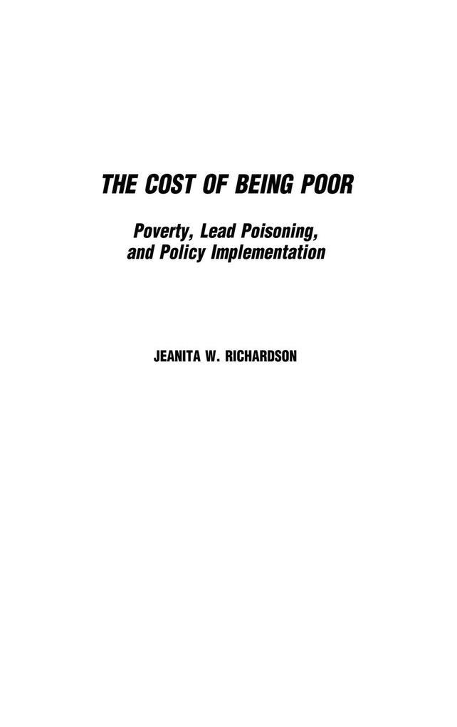 The Cost of Being Poor als Buch (gebunden)