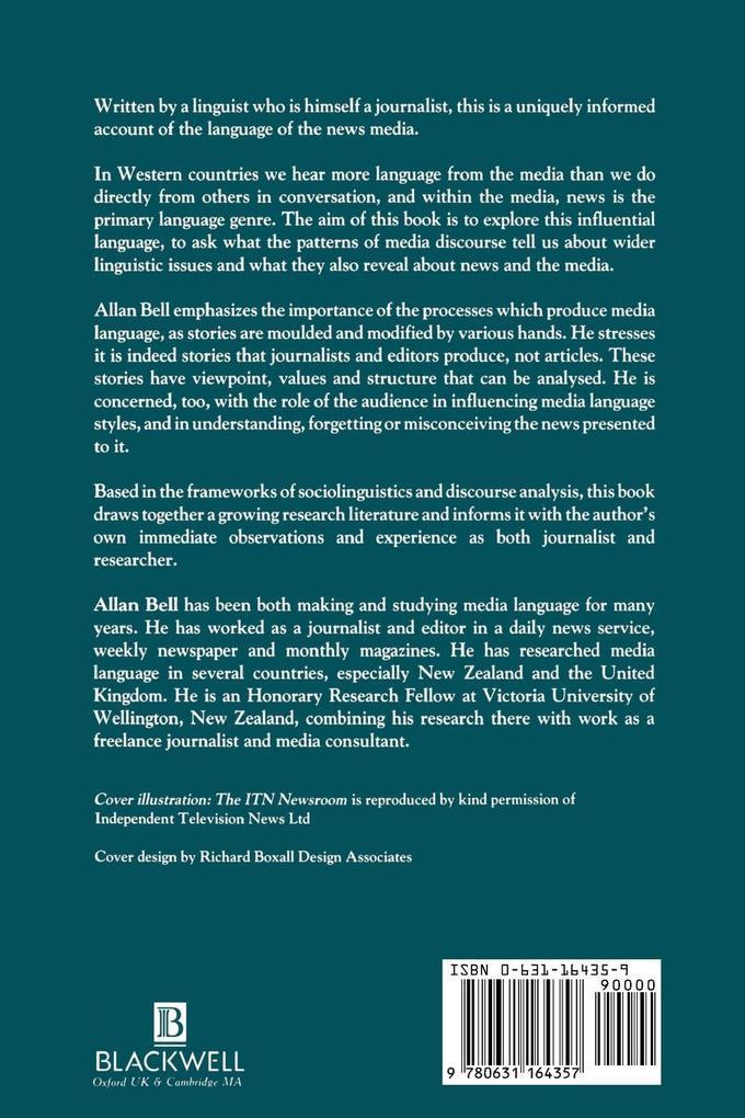 The Language of News Media als Buch von Allan Bell
