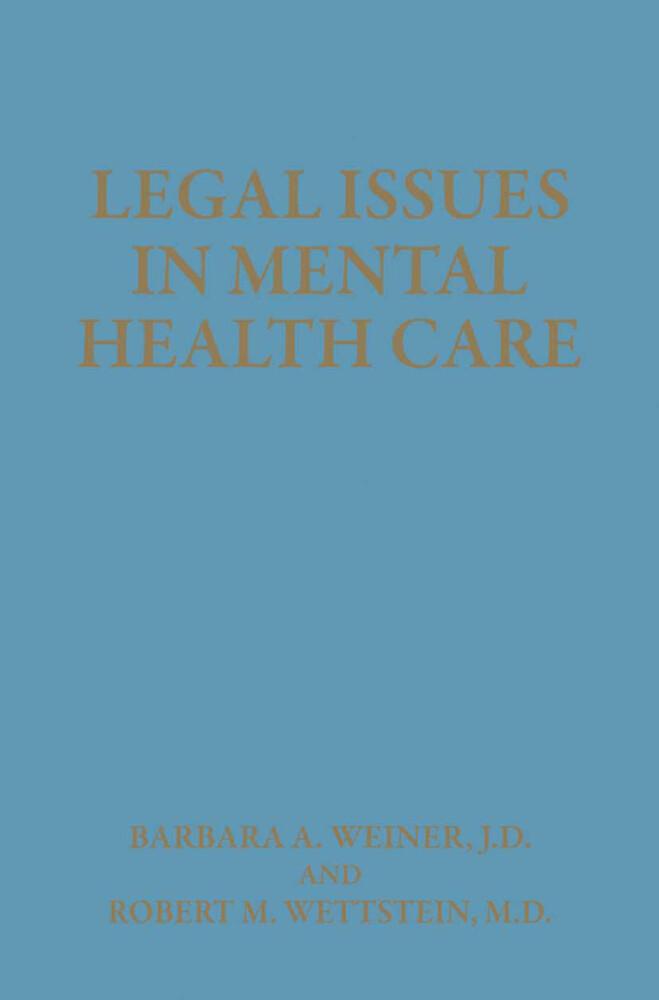 Legal Issues in Mental Health Care als Buch von...