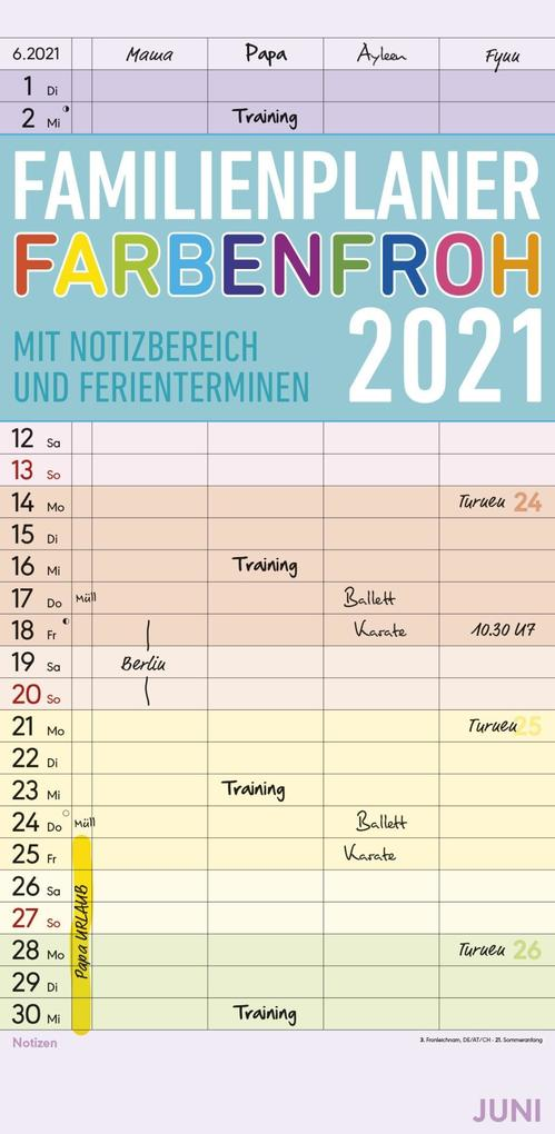 Familienkalender zum Organisieren von Familie und Aufräumaktionen