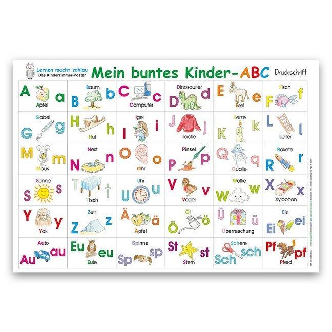 Mein buntes Kinder-ABC Druckschrift Lernposter DIN A3 laminiert als Sonstiger Artikel