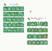 Mein Tafel-ABC Druckschrift mit Artikeln + Meine Zahlen-Tafel von 1-20, 2 Lernposter, glänzend, 300g