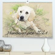 Hundewelpen 2021 (Premium, hochwertiger DIN A2 Wandkalender 2021, Kunstdruck in Hochglanz)