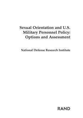 Sexual Orientation and U.S. Military Personnel Policy: Options and Assessment als Taschenbuch