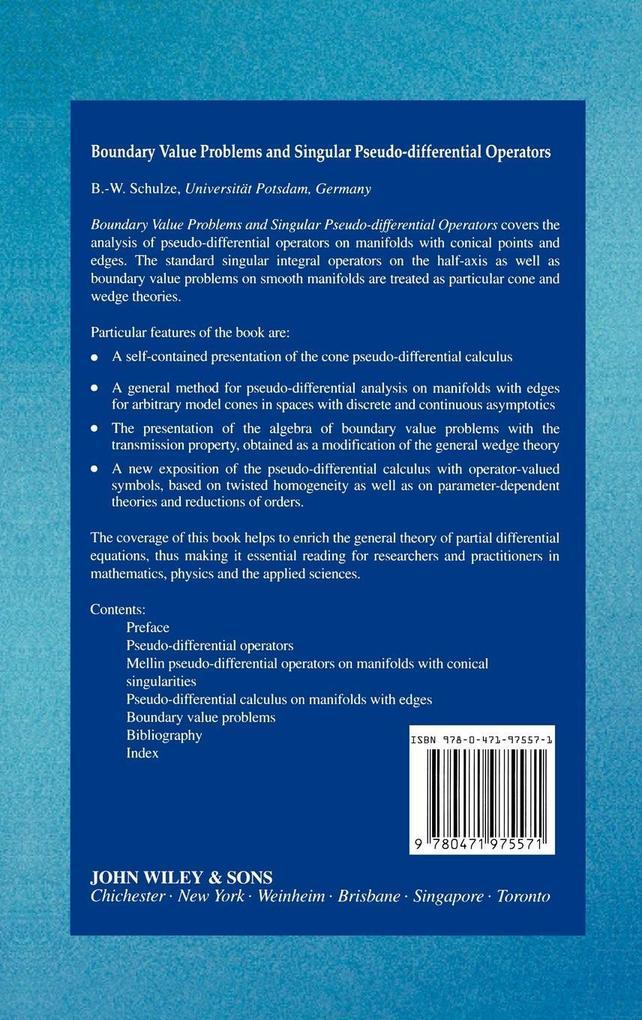 Boundary Value Problems  Singular Pseud als Buch (gebunden)