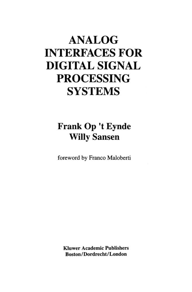Analog Interfaces for Digital Signal Processing Systems als Buch (gebunden)