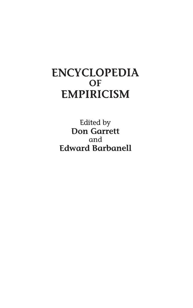 Encyclopedia of Empiricism als Buch (gebunden)