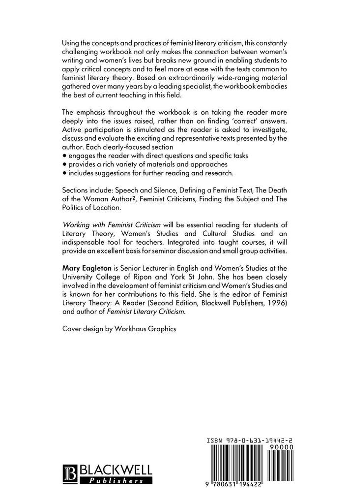 Working with Feminist Criticism als Buch (gebunden)