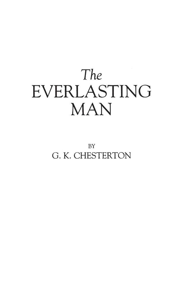 The Everlasting Man als Buch