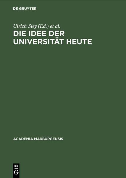 Die Idee der Universität heute als Buch