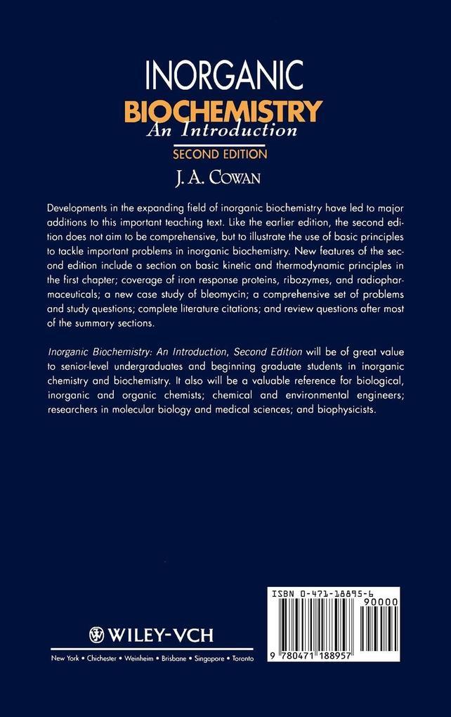 Inorganic Biochemistry 2e als Buch