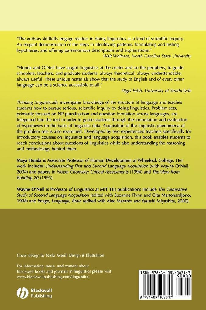 Thinking Linguistically als Buch