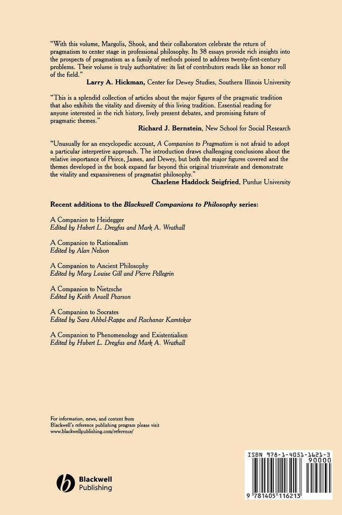 Companion to Pragmatism C als Buch