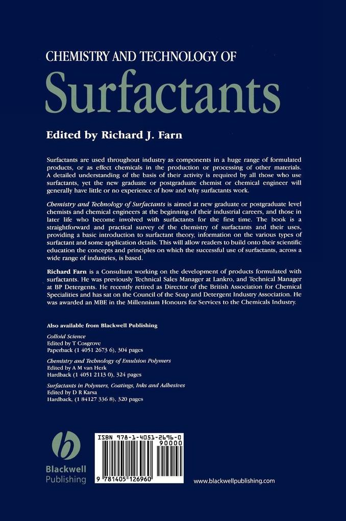 Chemistry Technology Surfactants als Buch