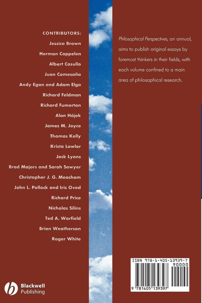 Epistemology Phil Persp Vol 19 als Taschenbuch