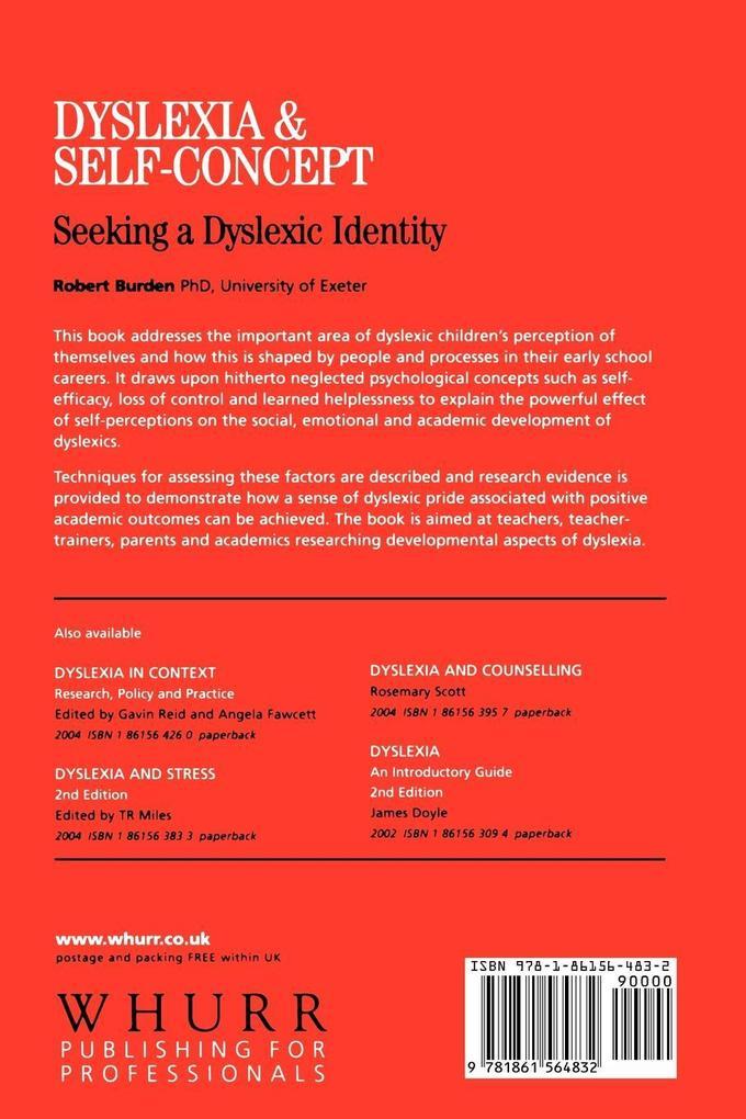 Dyslexia and Self-Concept als Taschenbuch