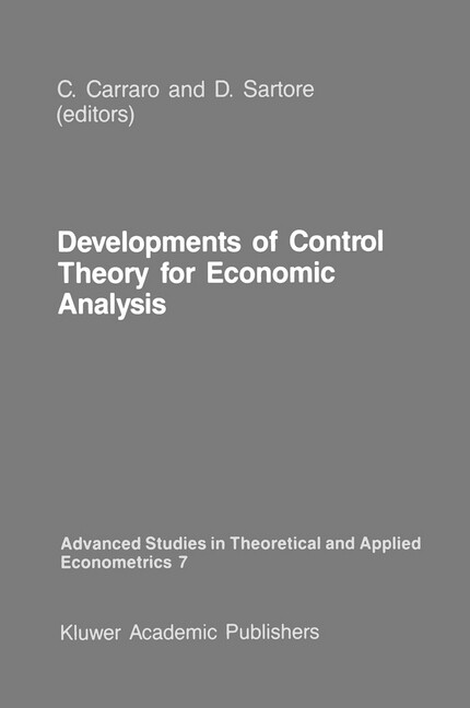 Developments of Control Theory for Economic Analysis als Buch