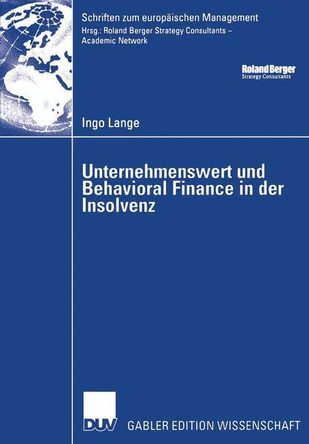 Unternehmenswert und Behavioral Finance in der Insolvenz als Buch