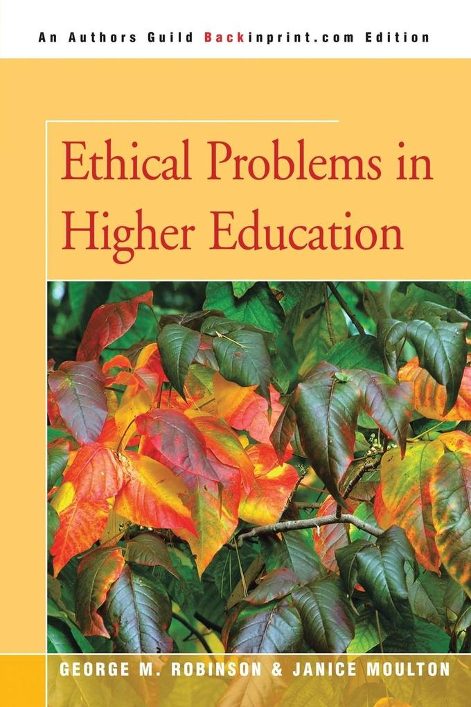 Ethical Problems in Higher Education als Taschenbuch