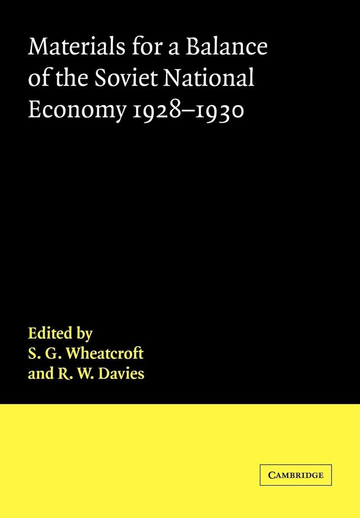 Materials for a Balance of the Soviet National Economy, 1928 1930 als Buch