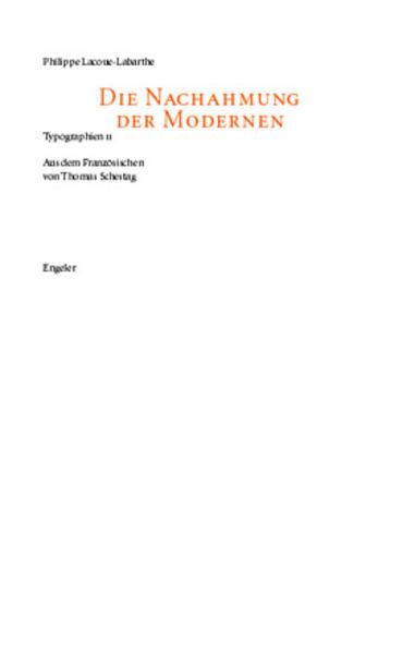 Die Nachahmung der Modernen als Buch