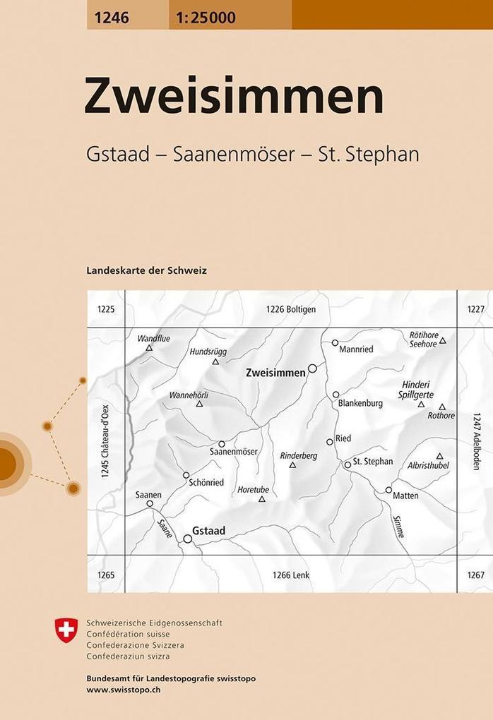 Swisstopo 1 : 25 000 Zweisimmen als Buch