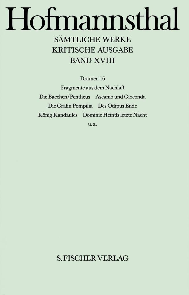 Dramen XVI. Trauerspiele I, Nachlaß als Buch