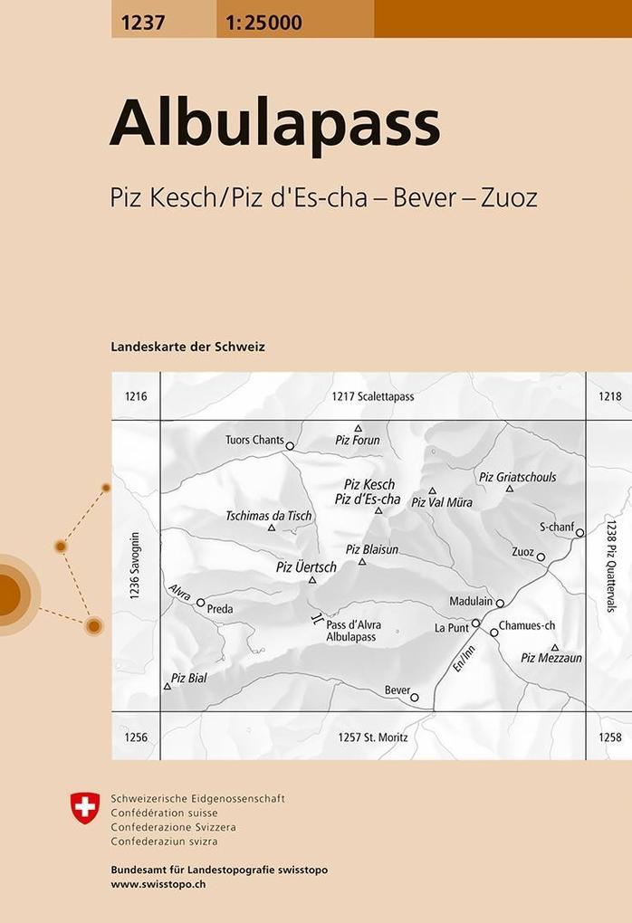 Swisstopo 1 : 25 000 Albulapass als Buch