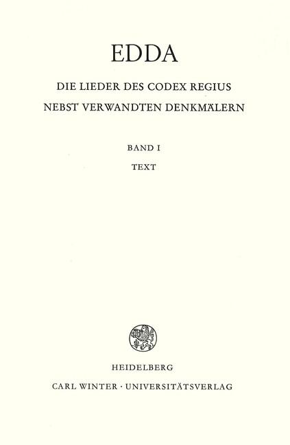 Edda. Die Lieder des Codex regius nebst verwandten Denkmälern 01. Text als Buch