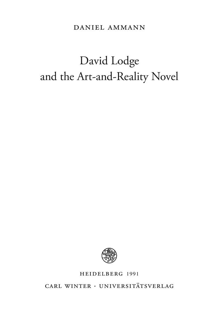 David Lodge and the Art-and-Reality Novel als Buch