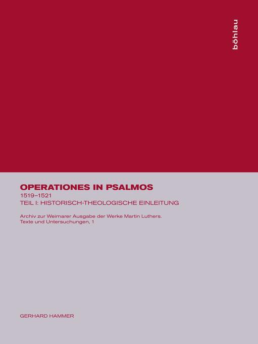 Operationes in psalmos, Teil I, Historisch-theologische Einleitung als Buch