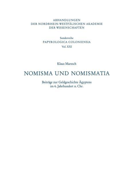 Nomisma und Nomismatia als Buch