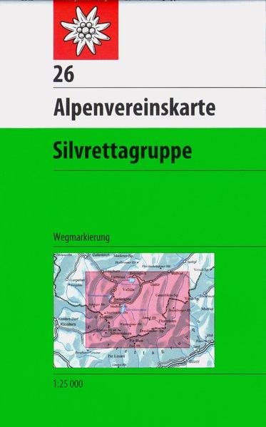DAV Alpenvereinskarte 26 Silvrettagruppe 1 : 25 000 Wegmarkierungen als Buch