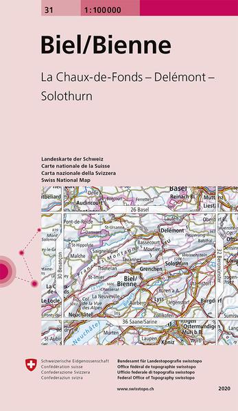 Swisstopo 1 : 100 000 Biel / Bienne als Buch