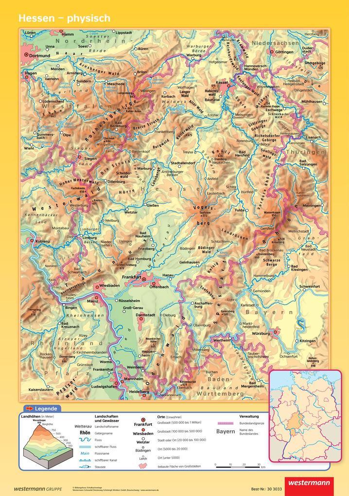 Posterkarten Geographie. Hessen: physisch / politisch als Spielwaren