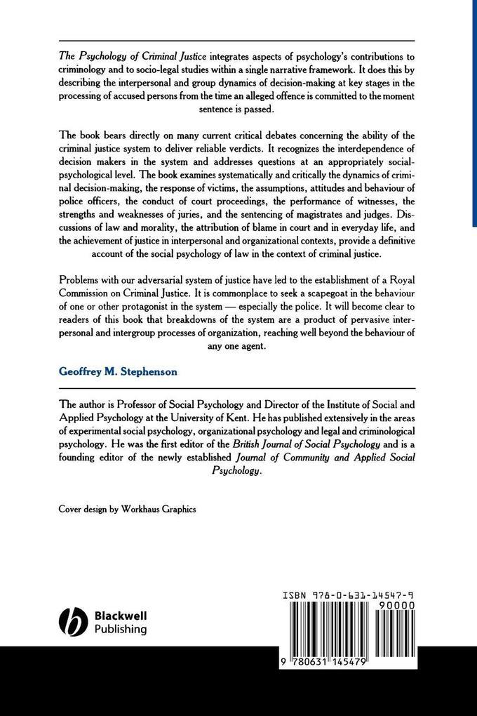 Psychology of Criminal Justice als Buch