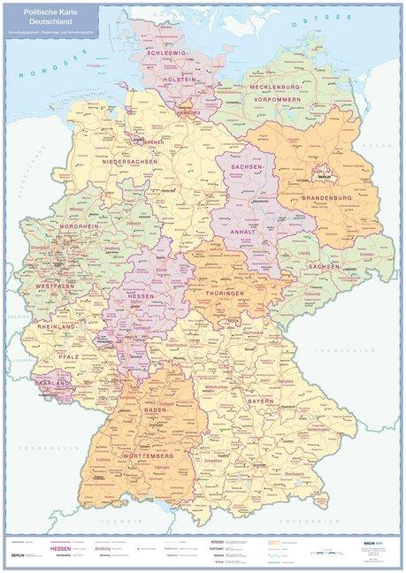 Politische Karte Deutschland, plano als Buch von