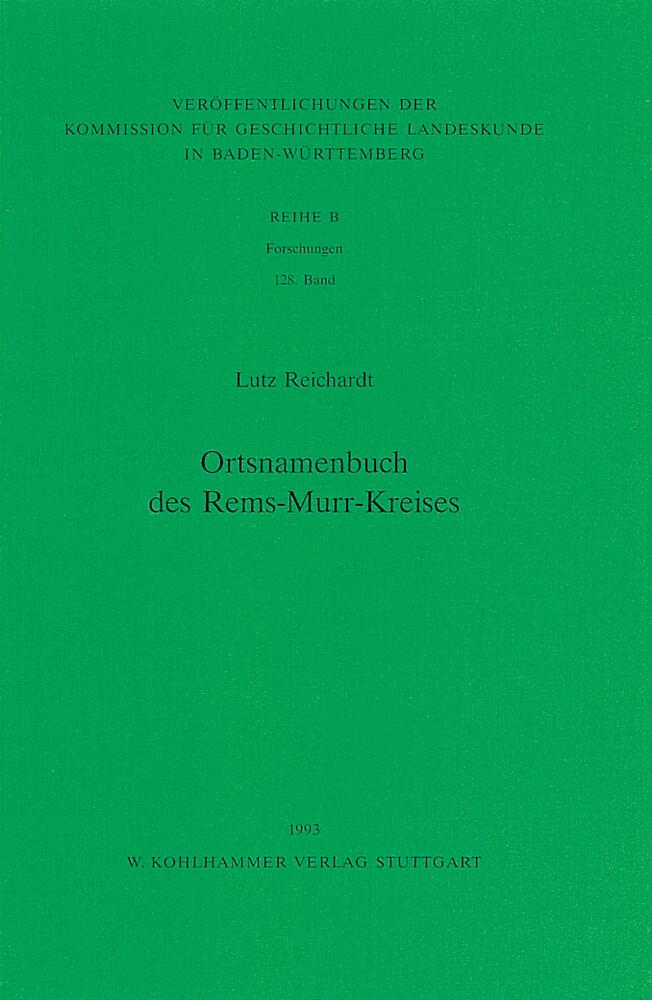 Ortsnamenbuch des Rems-Murr-Kreises als Buch