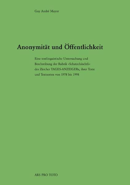 Anonymität und Öffentlichkeit als Buch
