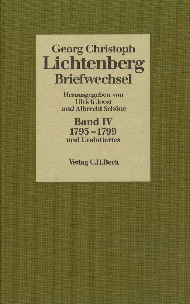 Lichtenberg Briefwechsel Bd. 4: 1793-1799 als Buch