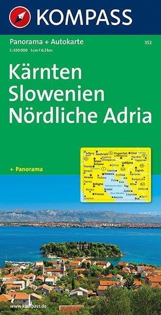 Kärnten, Slowenien, Nördliche Adria 1 : 650 000. Straßenkarte als Buch