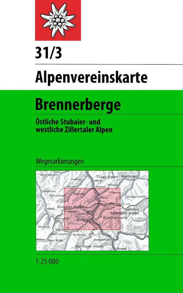 DAV Alpenvereinskarte 31/3 Brennerberge 1 : 50 000 Wegmarkierungen als Buch